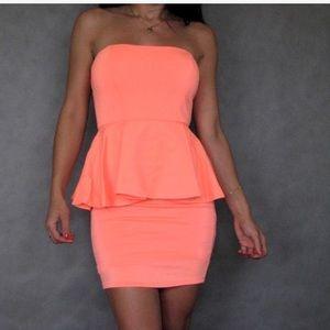Zara neon orange peplum dress